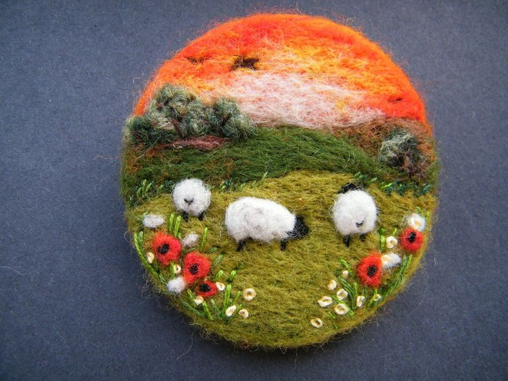 Hand Made Needle Felted Brooch/Gift Summer Sunset by Tracey Dunn