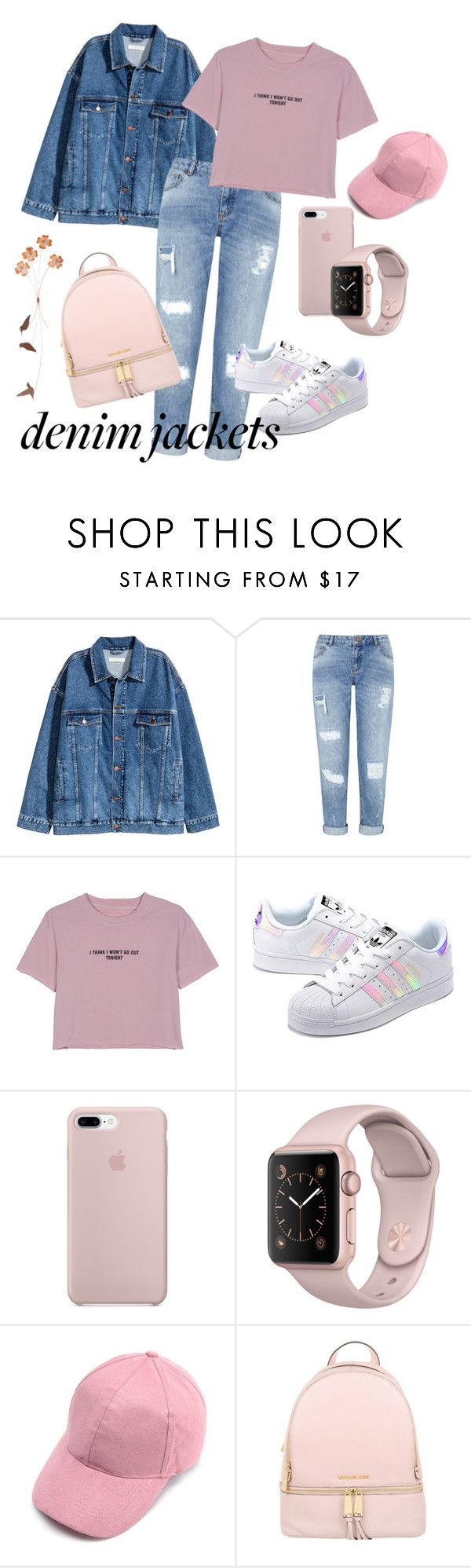 """Denim Jacket"" by topovayatyan ❤ liked on Polyvore featuring Miss Selfridge, WithChic, adidas Originals and MICHAEL Michael Kors"