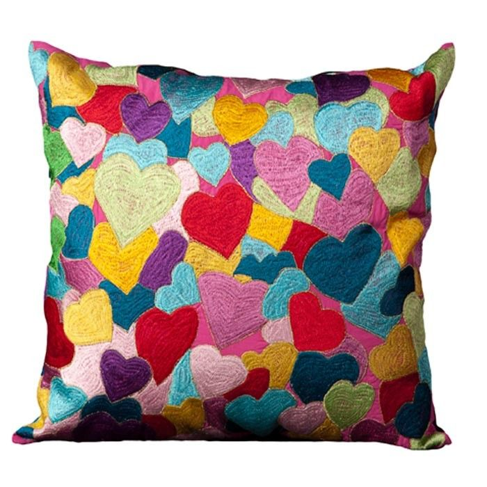 Hearts explosion pillow // the colors! | via Joss  Main