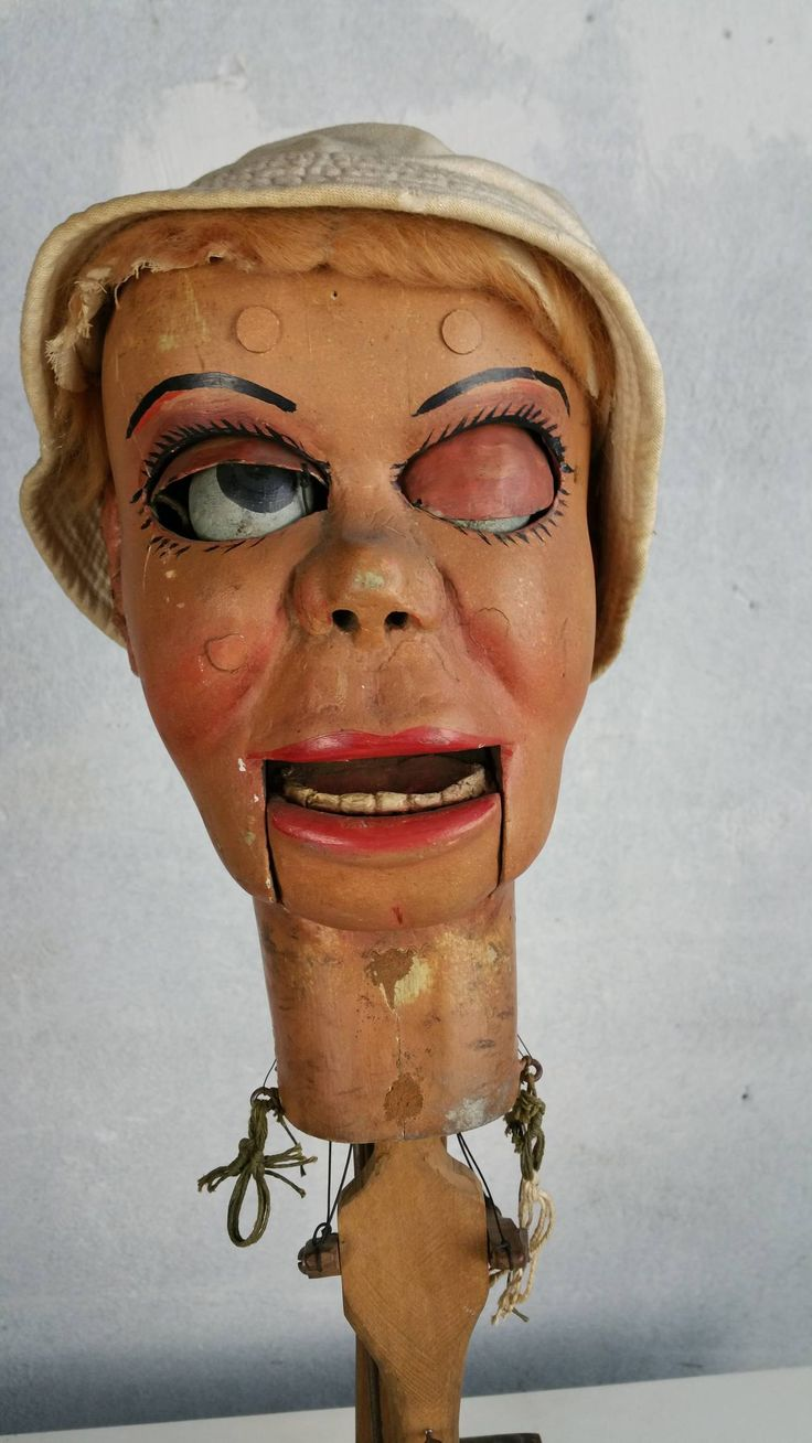 Early Ventriloquist Doll Head with Moving Eyes, Eyebrows, and Mouth | From a unique collection of antique and modern toys at https://www.1stdibs.com/furniture/folk-art/toys/
