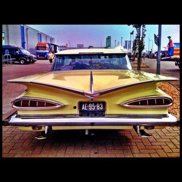 Yellow 59 Chevy Impalla bad to the bone