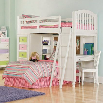 Beautiful and cute pink and white decoration with double deck bunk bed designs for small kids - Gorgeous bedroom decoration with various sliding bed table ideas ...
