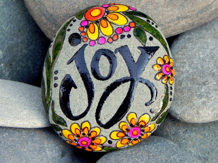 Joy /Painted Sea Stone/ Sandi Pike Foundas. $34.00, via Etsy.