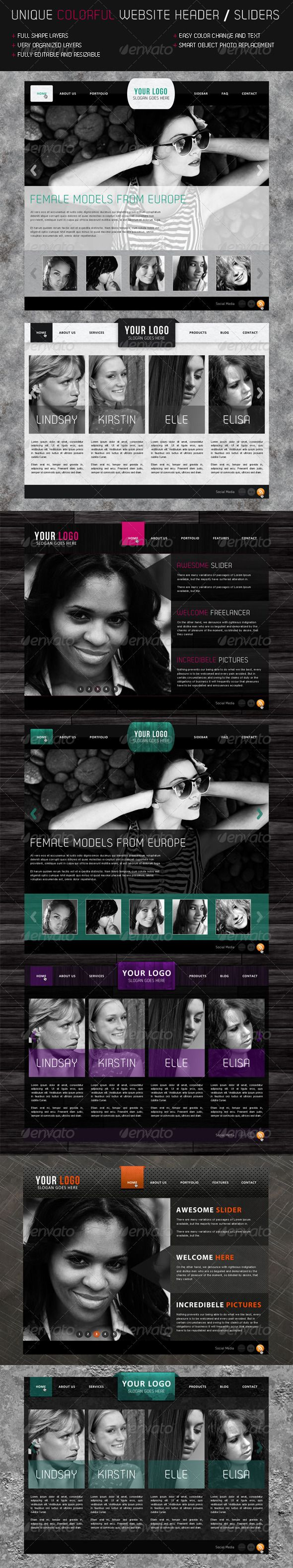Website Sliders and Headers #GraphicRiver - PSD file (Photoshop CS4 ) - 1200px wide. The elements are 1000 pixels wide. - 3 unique sliders which comes in 4 themes - Themes are, Grunge, Darkwood, Paper and Metal - Easy color change - Fully Shape Layers - Highly organized layers - Normal & Hover button states Created: 20August11 GraphicsFilesIncluded: PhotoshopPSD Layered: Yes MinimumAdobeCSVersion: CS4 PixelDimensions: 1200x2635 Tags: black #blogheader #dark #header #navigation #paper…