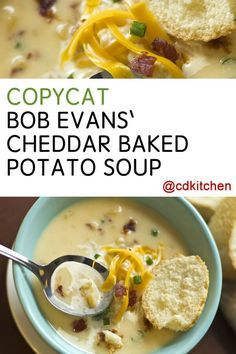 Make this favorite cheesy potato soup from Bob Evans at home! | http://CDKitchen.com