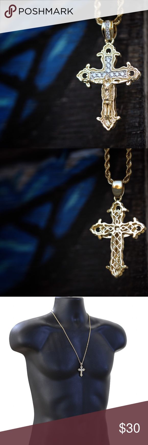 Mini Gold Jesus Cross Pendant Necklace Men's Mini Gold Jesus Piece Cross Pendant Necklace Set  Chain is made of 316 stainless steel with a 14k gold plating on top. Pendant is mini size 25mm in length. Lab simulated diamonds. 2mm with 20,22,24 or 26 inch 316 stainless steel 14k gold plated rope chain necklace included. TSV Jewelers Accessories Jewelry