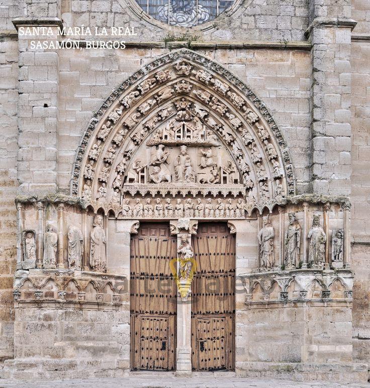 Portada gótica de la Colegiata de Santa María la Real, Sasamón, Burgos http://arteviajero.com/