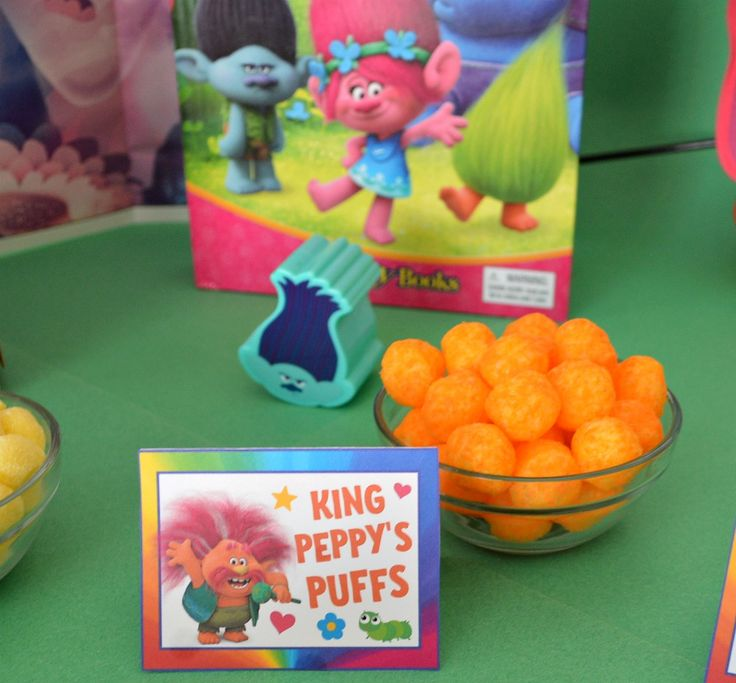 Trolls Party Food Cards