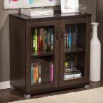 Zentra Contemporary Dark Brown Storage Cabinet, Dark Brown Wood