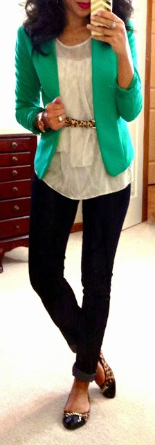 Emerald jacket, white blouse and black pants or skirt