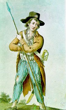 """Sans-Culottes - Group of working-class men who supported the French Revolution.  One of their most noticeable characteristics at the time was that they wore pantaloons -- """"sans culottes"""" meaning """"without knew breeches""""."""