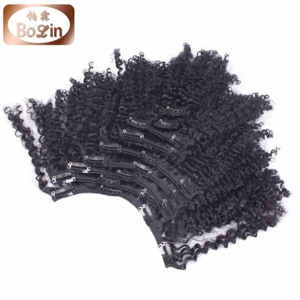 4c afro kinky curly human hair weave virgin brazilian hair kinky curly clip in hair extensions