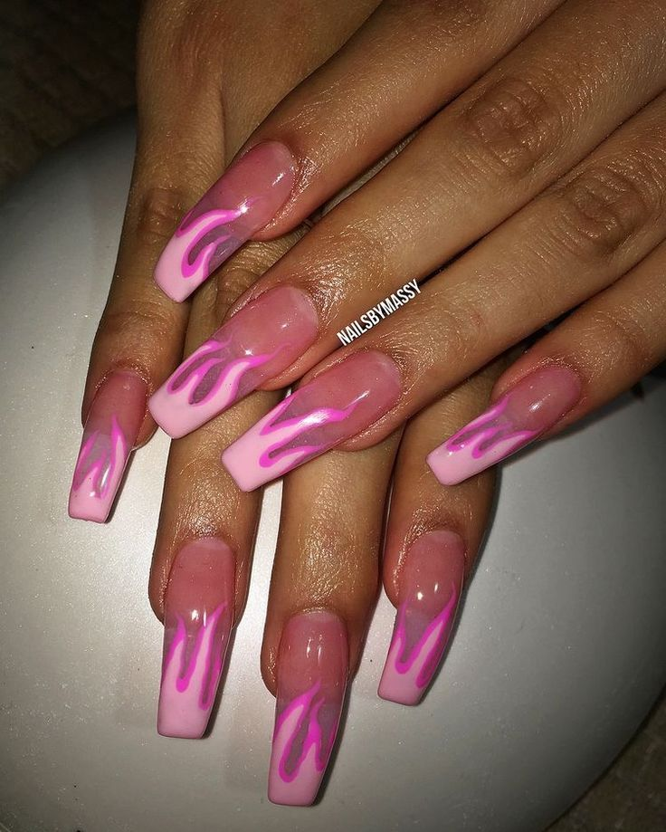 Fire Pink Nails Fire Nails Trendy Nails Cute Acrylic Nails