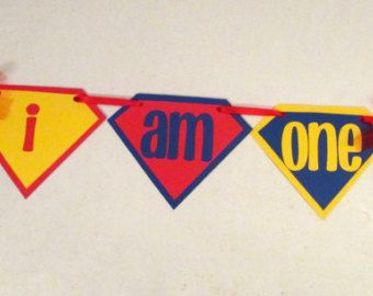 SUPERMAN First Birthday High Chair Banner for Superhero First Birthday Party