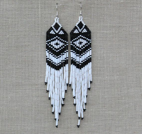 White and Black Earrings. Native American by LiLaJewelry4You