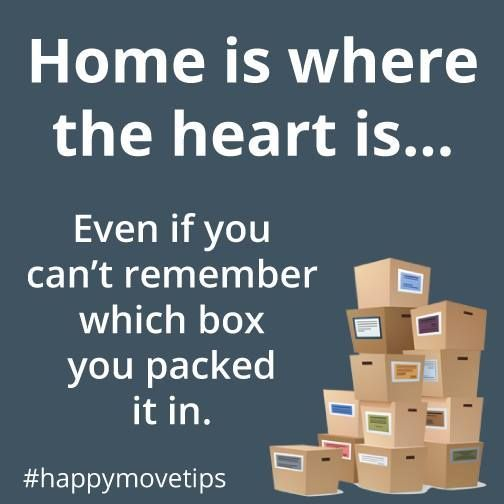 Home is where the heart is... even if you can't remember which box you packed it in. Keep your boxes organized and make your move easier with colored smart tape to label them. | Moving Day Humor