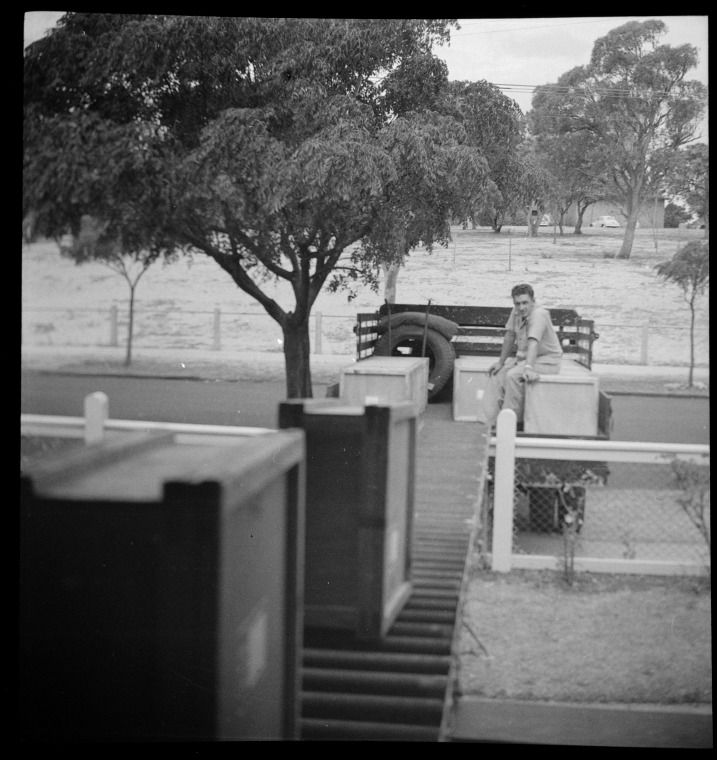 319559PD: The 'contraption' at Havelock Street loading boxes of books for public libraries, February 1955 https://encore.slwa.wa.gov.au/iii/encore/record/C__Rb3430597