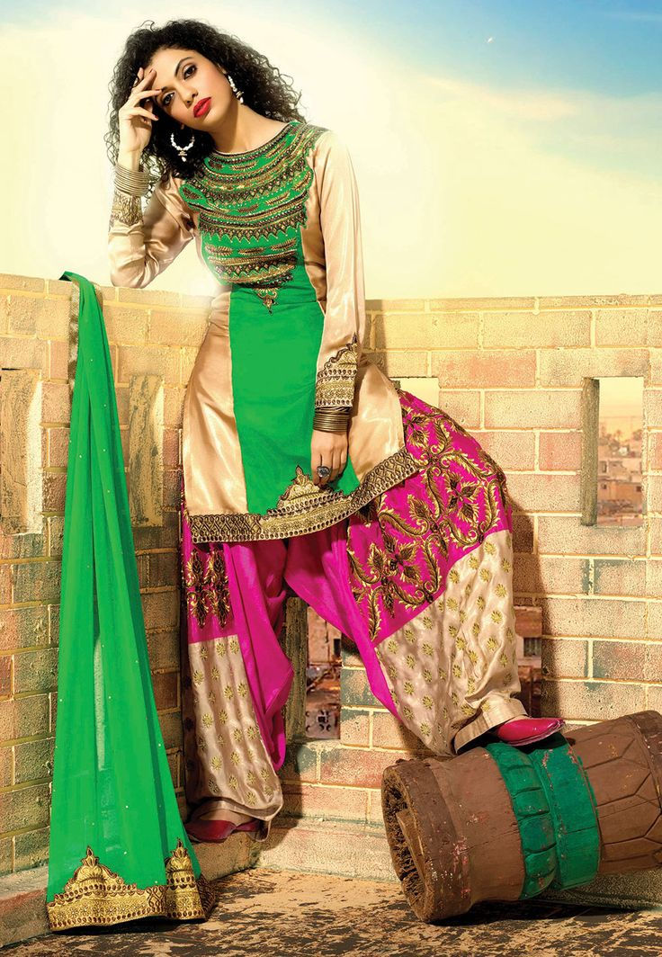 #Green and Beige Faux Georgette Kameez with #Patiala