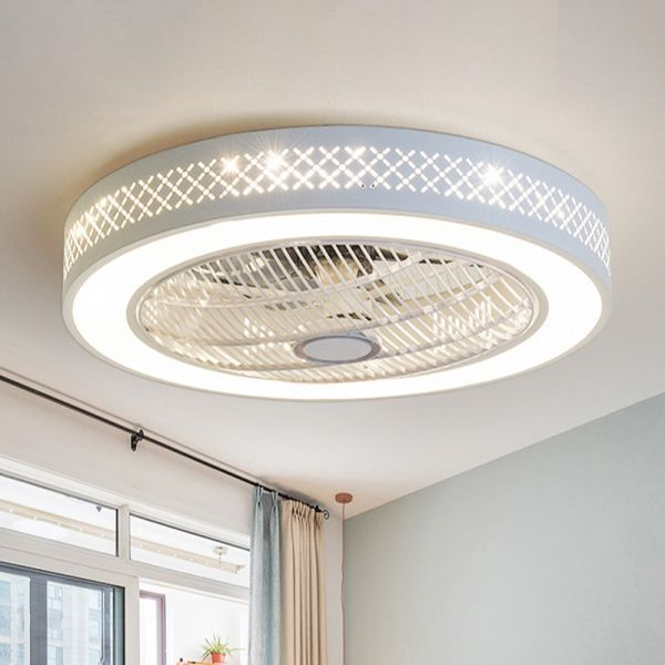 21 5 W Metal White Ceiling Fan Lamp Round Led Simple Semi Flush Mount Light For Living Room A Ceiling Fans White Ceiling Fan Ceiling Fan Design White Ceiling Flush mount white ceiling fans with lights