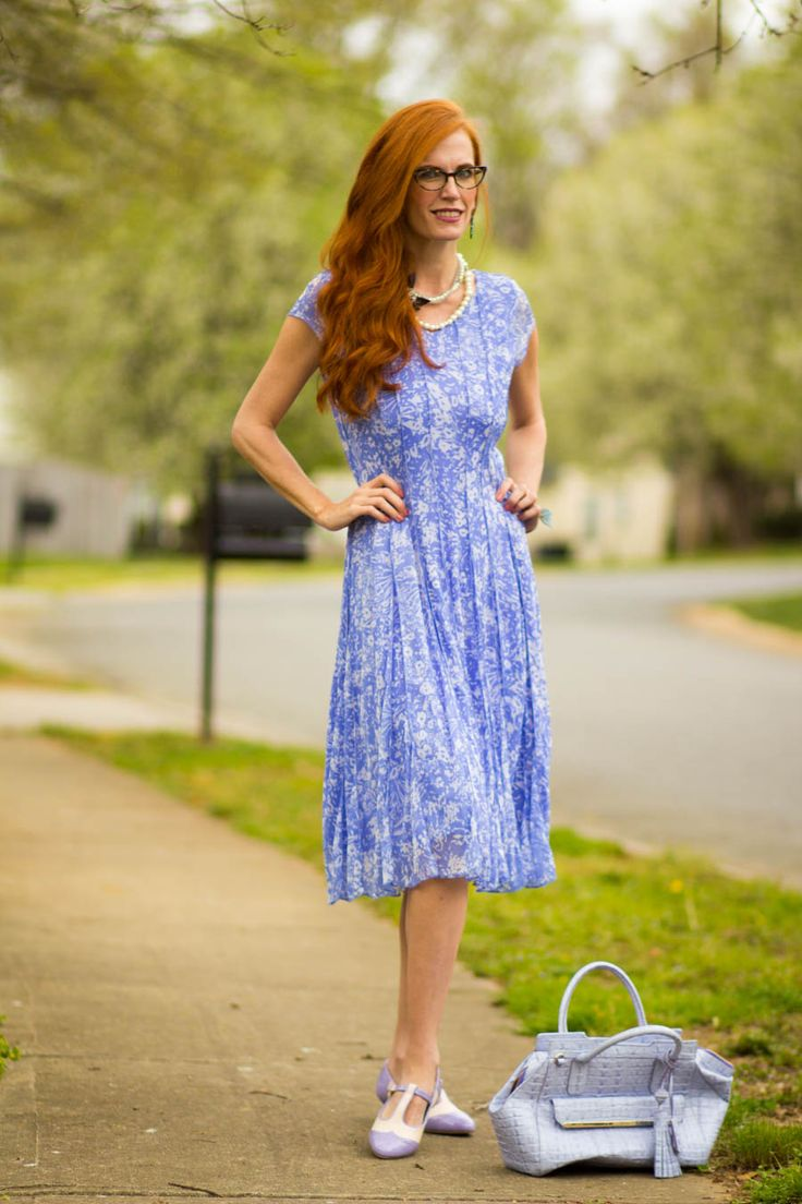 Review of ColdWater Creek Serenity Colored Dress with Vintage Inspired T-Strap Shoes - Elegantly Dressed & Stylish - Over 40 Fashion Blog