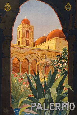 Palermo Sicily Tourism Travel Vintage Ad Poster Premium Poster