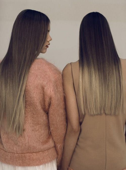 Straight ombre hair.