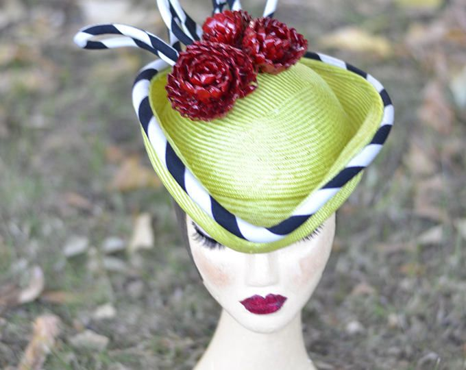 Chartreuse green,  tricorn hat, vintage style hat, crimson red flowers, black and white stripe trim, reces wedding hat