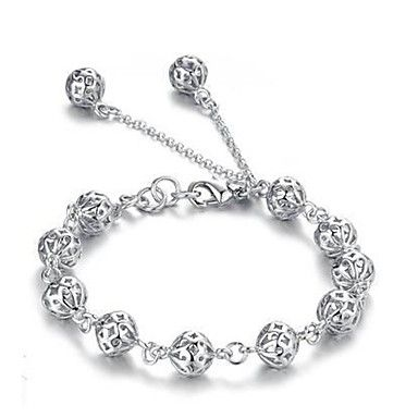 prata das mulheres banhado oco jóias pulseira bola de 712923 2016 por €11.39