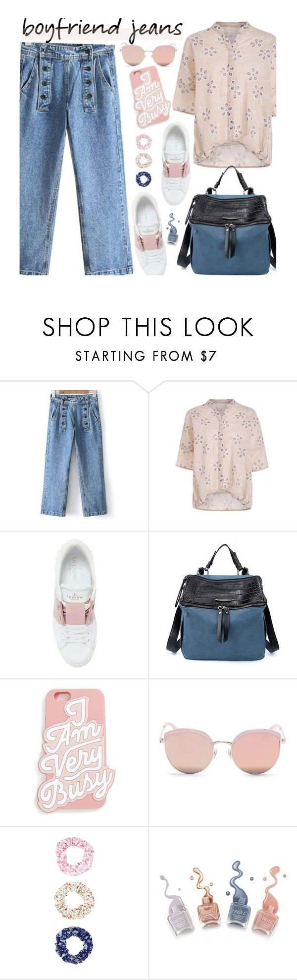 """""""Borrowed from the Boys: Boyfriend Jeans"""" by zaful ❤ liked on Polyvore featuring Valentino, ban.do, Stephane + Christian, Accessorize, casualoutfit, boyfriendjeans and zaful"""