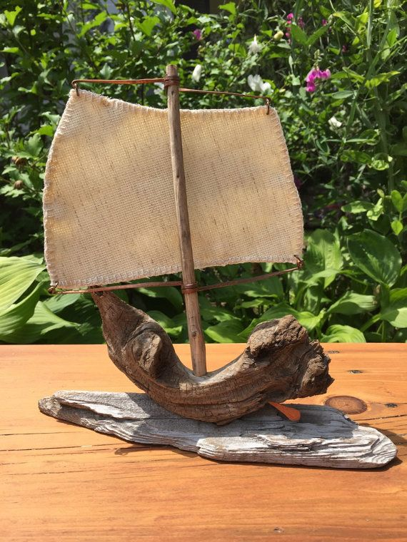 Driftwood sailboat home decor centerpiece by AdriftNoMore