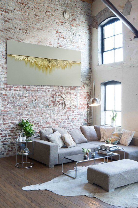 Custom Oversized Original Wall Art Gold Leaf And Acrylic On Etsy Loft Living Home Loft Style
