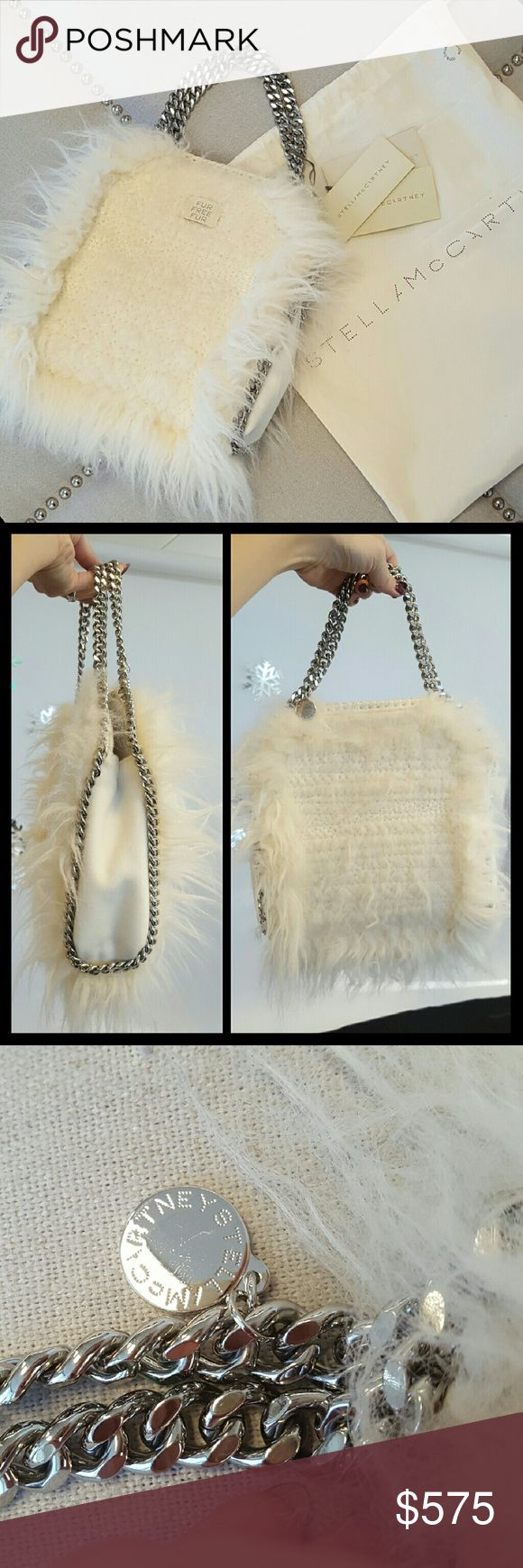 """Stella McCartney Faux Fur Falabella New! Authentic Stella McCartney woven faux-fur (modacrylic) shoulder bag. IVORY Signature chain and whipstitch trim. Top handles; hanging logo disc charm. Button closure. 10.3""""H x 9""""W x 3.5""""D. Bag weight: 1.3 lb. """"Falabella"""" is made in Italy. About Stella McCartney: Central Saint Martins alumnus Stella McCartney launched her own label in 2001, after completing an apprenticeship on Savile Row. A highlight of Paris Fashion Week. Comes with dust bag and card…"""