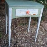 Cute side table revived by For The Love Creations using Miss Mustard Seed Milk Paint - Linen & custom mix Kitchen Scale / Luckett's Green. South Australia