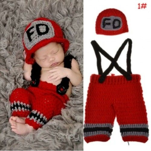 Crochet Baby Photo Props Newborn Lovely Handmade Knitting Costume Outfits 1set fire fighter