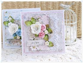 Shabby chic handmade birthday cards.