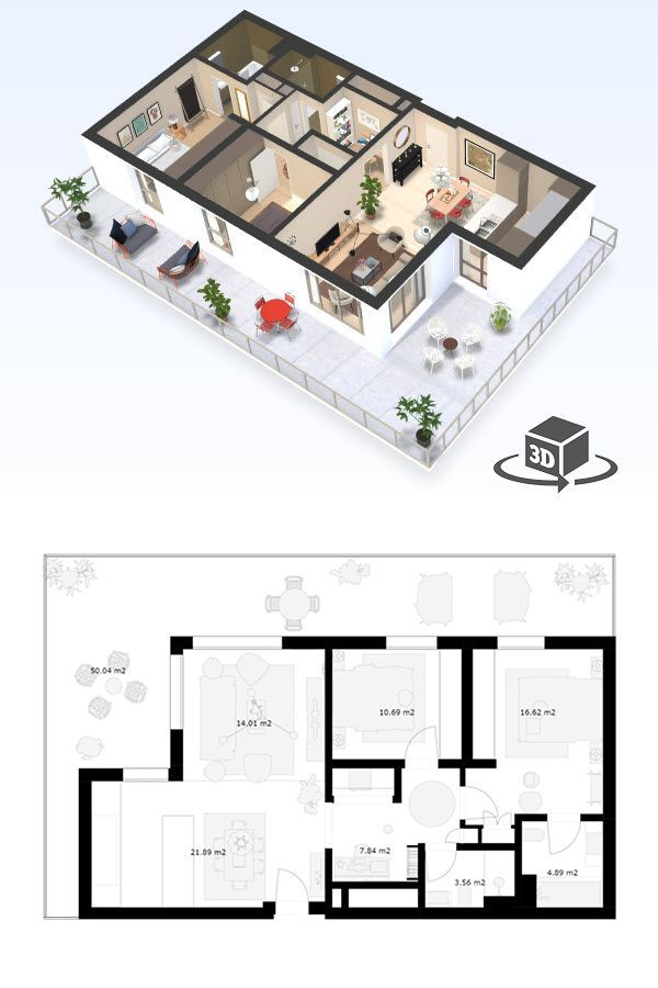 2 Bedroom Apartment Floor Plan In Interactive 3d Get Your Own 3d Model Today At H Small Apartment Floor Plans 2 Bedroom Apartment Floor Plan Condo Floor Plans