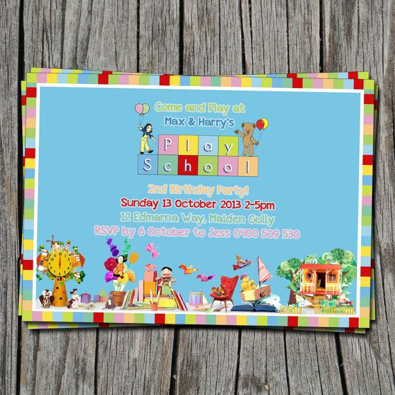 Kids Birthday Invitation Playschool ABC - Modern, Contemporary Kids birthday Invitation - Printable, Digital