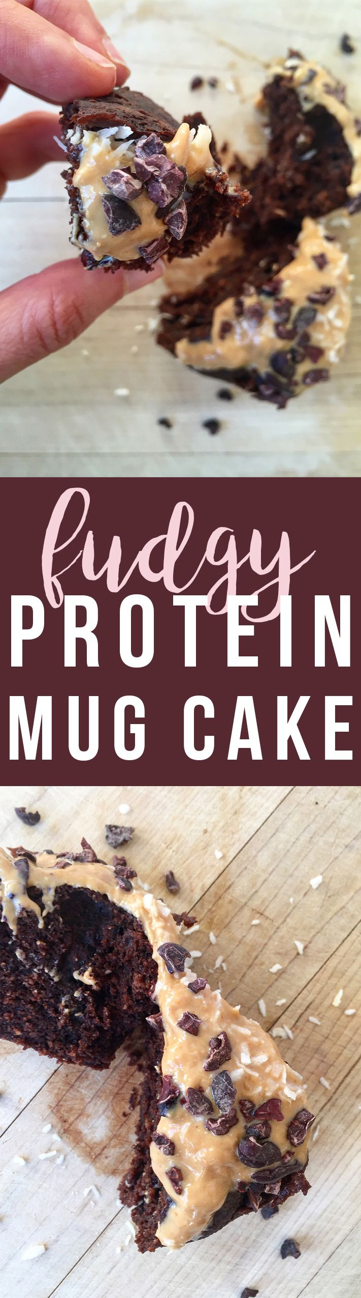 10 Ingredients or Less: this Fudgy Protein Mug Cake takes minutes to make and is a filling and delicious snack. Click to read the recipe or pin to save for later! | GrokGrub.com