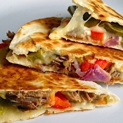 Big, beefy and delicious!  Roast beef quesadillas made with left over pot roast.