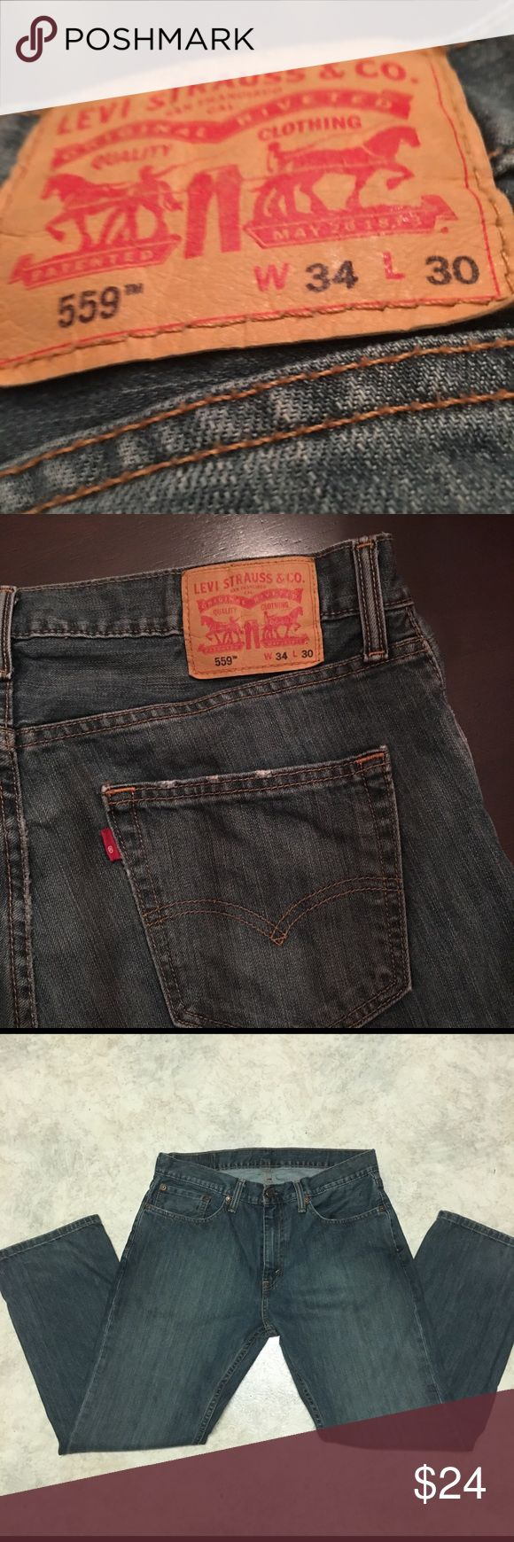 Men's Levi 559 jeans 34x30 Men's Levi's 559 size 34x30. Very light wear on back pockets can be seen in pictures. Levi's Jeans