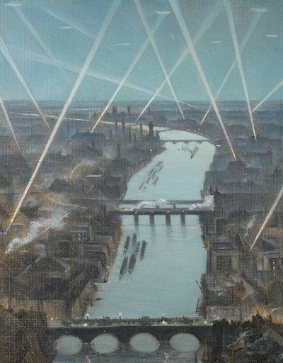 "WW1. ""Among the London Searchlights"" by CRW Nevinson, 1916. -War Art (@Artistwar) WW1. ""Parmi les projecteurs Londres"" par CRW Nevinson, 1916. -WAR Art (@Artistwar) 