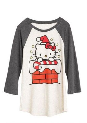 FOR SALE - HELLO KITTY LONG SLEEVED SHIRT XL sanrio baseball mighty fine christmas L new