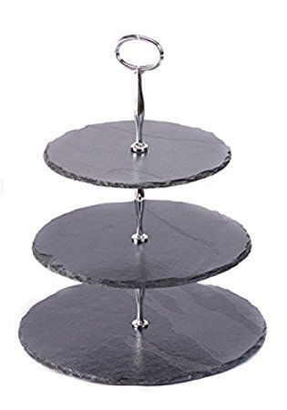 Les plats en ardoise Présentoir à gâteau 3 niveaux Chromé/Noir