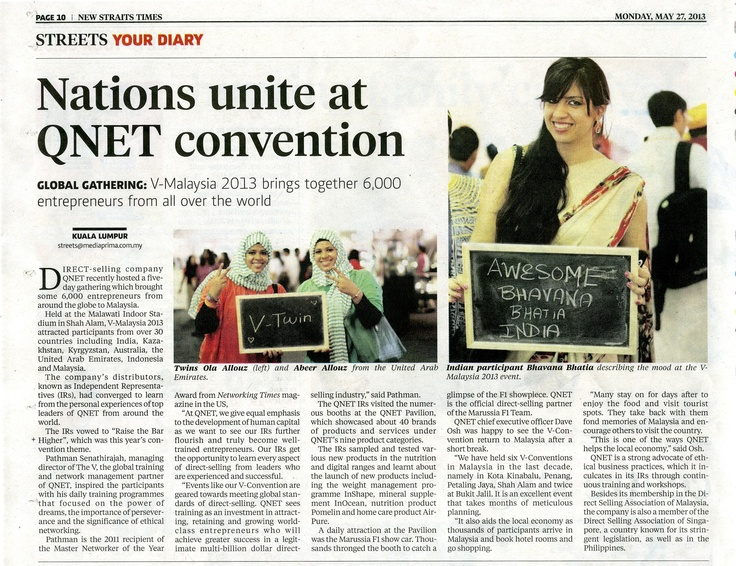 We're in the news! We're on New Straits Times today! GLOBAL GATHERING: V-Malaysia 2013 brings together 6,000 entrepreneurs from all over the world.
