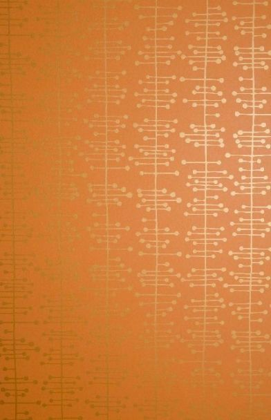 Muscat Small Orange/gold (MISP1003) - MissPrint Wallpapers - The smaller scale version of this design with a stylised vertical helix in metallic gold on rich orange – a simple but abstract design. Please ask for sample for true colour match.