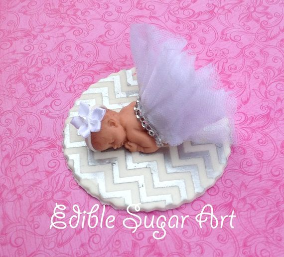 CHEVRON BABY SHOWER Cake Topper princess baby girl tulle skirt Fondant Cake Topper baby girl Tutu