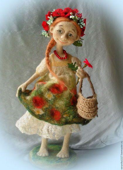 """Коллекционные куклы ручной работы. Ярмарка Мастеров - ручная работа. Купить Войлочная кукла """"Маков цвет"""". Handmade. летний подарок"""