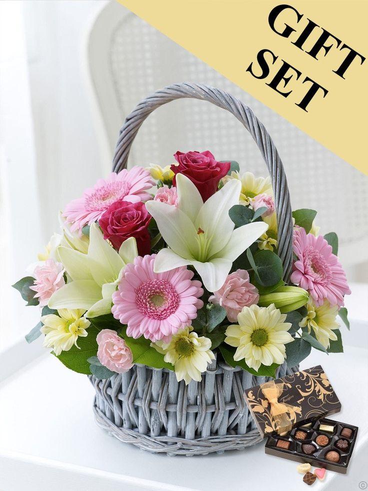 Pink and Cream Basket Arrangement & Chocolates €46.95