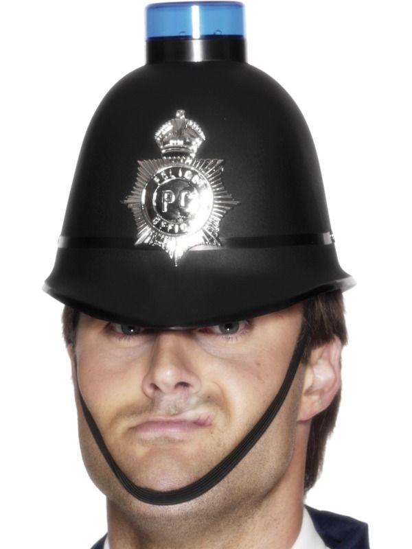 Police Helmet with Flashing Siren Light | Frojos.co.uk