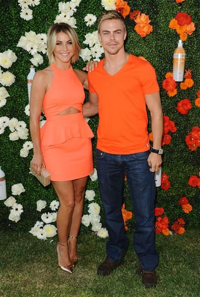 Julianne Hough and Derek Hough attend the celebration of Svedka Vodka's orange cream pop and strawberry colada flavors in Los Angeles on June 25, 2013.